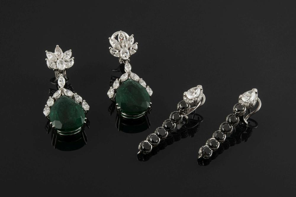 A PAIR OF WHITE GOLD, EMERALD AND DIAMOND INTERCHANGEABLE EARRINGS