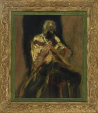 IGNACIO GARCIA ERGUIN (Bilbao, 1934) Marvin Kimball. Bajo Oleo sobre tabla de 73 x 60 cm. Firmado. Al dorso, firmado, titulado, fechado en 1979 e inscrito Preservation Hall, New Orleans.