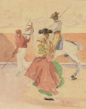 EUGENIO OLIVA Y RODRIGO (1852/54-1925) Torero y picador Acuarela sobre papel de 22 x 18 cm. Firmado. Al dorso apunte a carboncillo de picador.