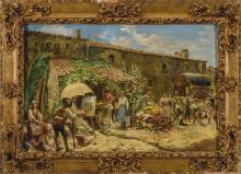 EUGENIO OLIVA (Palencia, 1852 - Madrid, 1925) Mercado. Oil on canvas