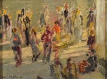 IGNACIO GARCIA ERGÜIN (1934) Escena de calle. Oil on cardboard