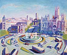 GREGORIO GIGORRO (1958, Valdelaguna, Madrid) La plaza redonda. Oil on canvas 46 x 55 cm. Signed. Framed.