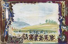 PEDRO FLORES (Murcia, 1897-París, 1967) Escena de teatro. Gouache on paper of 25.5 x 39.5 cm. With artist estate stamp and handwritten inscription: 4th tableau. Framed