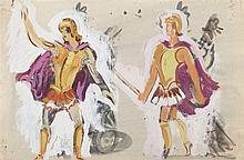 PEDRO FLORES (Murcia, 1897-París, 1967) Soldados romanos. Escenografia. Watercolor and gouache on 27 x 42 cm paper. With artist estate stamp. Framed