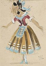 PEDRO FLORES (Murcia, 1897-París, 1967) Mujer. Escenografia. Watercolor and gouache on paper of 25 x 17.5 cm. With artist estate stamp. Framed.