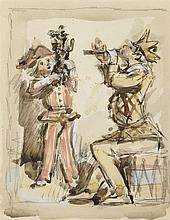 PEDRO FLORES (Murcia, 1897-París, 1967) Arlequines músicos. Watercolor and gouache on paper of 19.5 x 15 cm. On the back, stamp of the testamenteria of the artist. Framed.