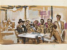 PEDRO FLORES (Murcia, 1897-PArís, 1967) En el café, con Dalí y Picasso. Watercolor and gouache on paper of 24 x 32 cm. With stamp of the artist estate. On the back, scene of boats. Framed