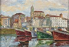 BASQUE SCHOOL, 20th C. Puerto. Oil on canvas of 38 x 55 cm. Signed