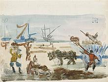PEDRO FLORES (Murcia, 1897-PArís, 1967) Arando los campos. Watercolor on paper of 25 x 32.5 cm. Artist's state seal. Framed