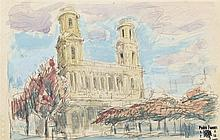 PEDRO FLORES (Murcia, 1897-París, 1967) Vista. Watercolor on paper of 13 x 21 cm. With artist's estate seal. Framed.