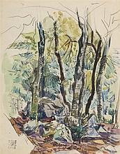 PEDRO FLORES ( Murcia, 1897-París 1967) Bosque. Watercolor on paper of 30 x 24 cm. With artist's estate seal. Framed.
