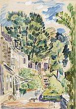 PEDRO FLORES (Murcia, 1897-París, 1967) Calle arbolada. Watercolor and gouache on paper of 26 x 18 cm. With artist's estate seal. Framed