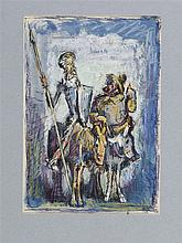 PEDRO FLORES (Murcia, 1897-PArís, 1967) Quijote y Sancho. Ink, watercolor and gouache on 21.5 x 14.5 cm paper. On the back, stamp of the artist's estate. Framed.