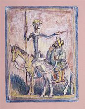 PEDRO FLORES (Murcia, 1897-París, 1967) Quijote y Sancho. Ink and gouache on paper of 31.5 x 16 cm. With artist's state seal. Framed.