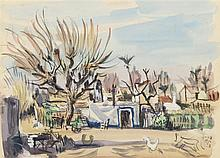 PEDRO FLORES (Murcia, 1897-París, 1967) Paisaje rural. Watercolor on 23.5 x 31.5 cm paper. With artist's state seal. Framed