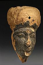 LATE PERIOD OF ANCIENT EGYPT (664-332 B.C.) SARCOPHAGUS MASK