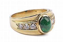BRILLIANT CUT DIAMONDS AND CABOCHON CUT EMERALD YELLOW GOLD RING