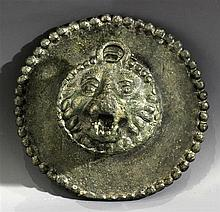 END OF A ROMAN CHARIOT POLE IN THE FORM OF A BRONZE LION'S HEAD (2nd-3rd AD. CENTURIES)