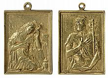 20th CENTURY SPANISH SCHOOL. TWO GOLD PLATED BRONZE DEVOTIONAL MEDALS