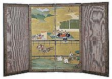 18th CENTURY JAPANESE NAMBAN  'BYOBU'