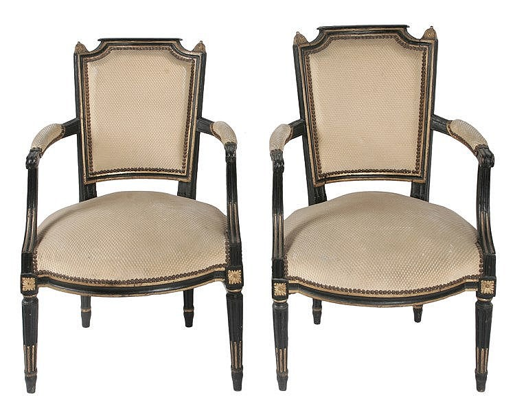 19th CENTURY FRENCH LOUIS XVI PERIOD PAIR OF ARMCHAIRS