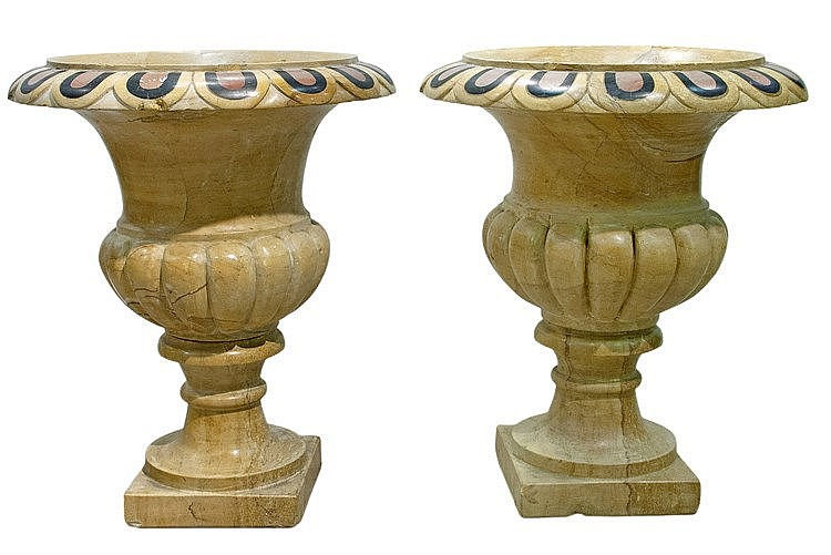FIRST HALF OF 20th CENTURY PAIR OF MARBLE DECORATIVE URNS