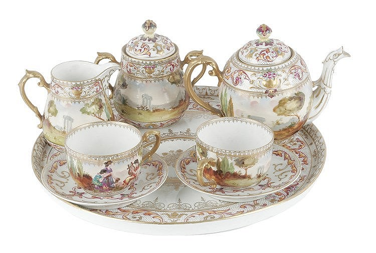 FIRST HALF OF 20th CENTURY CAPODIMONTI COFFEE SET