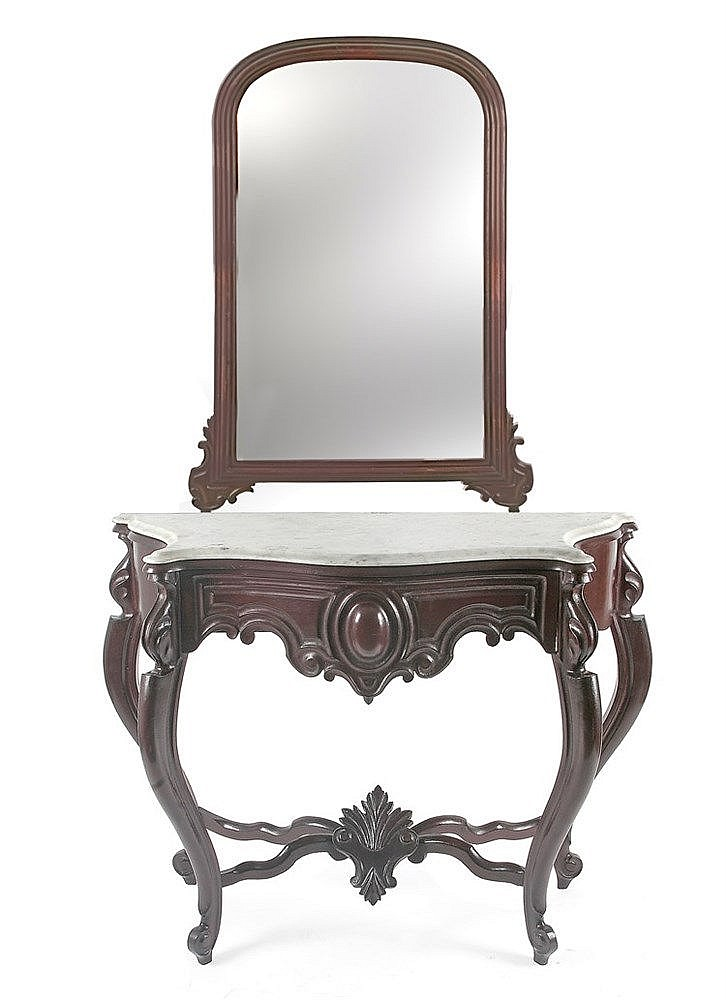 HALF OF 19th CENTURY SPANISH ELIZABETHAN PERIOD CONSOLE TABLE WITH MIRROR
