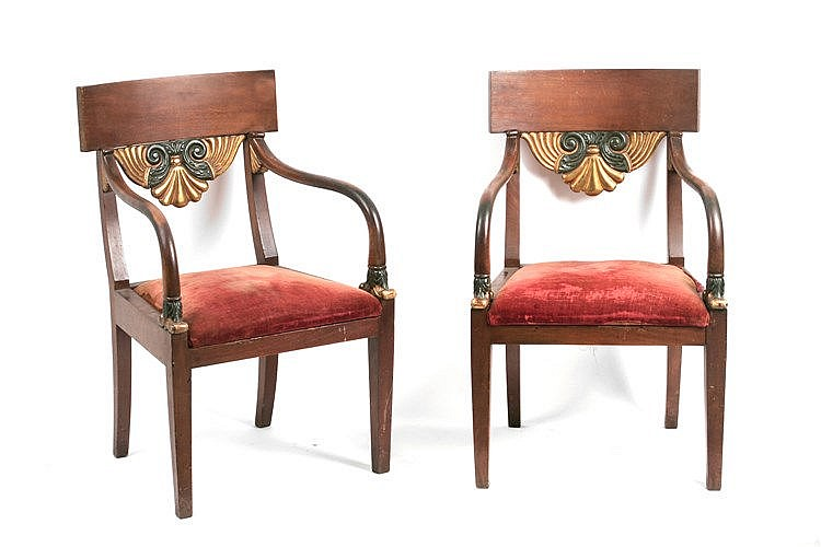 19th CENTURY SPANISH FERDINAND VII PERIOD PAIR OF ARMCHAIRS