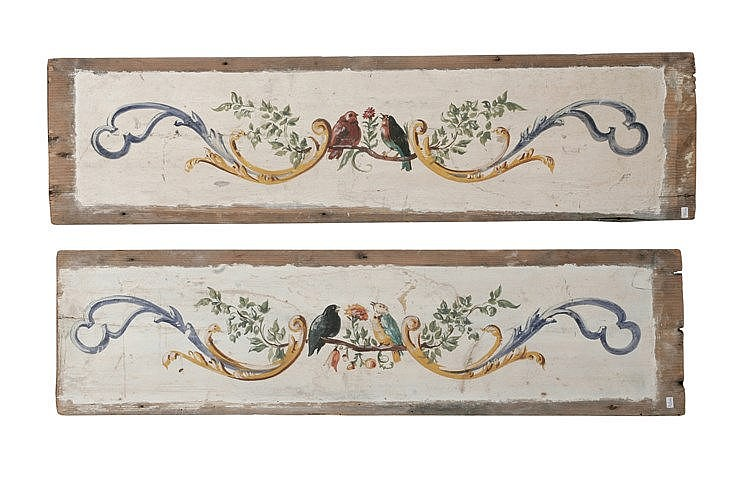 19th CENTURY PAIR OF WOODEN CARVED PLAQUES