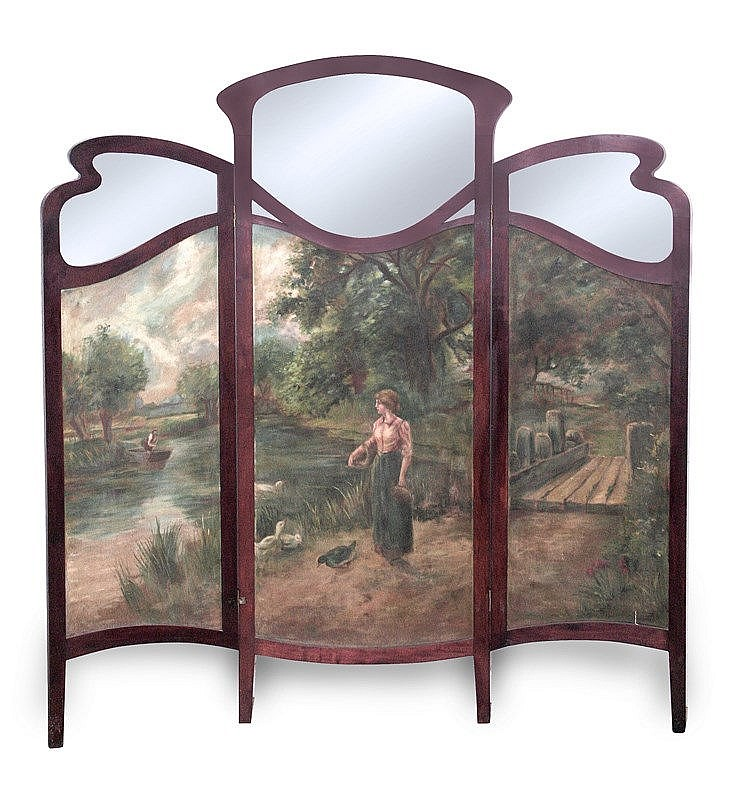 EARLY 20th CENTURY ART NOVEAU THREE-FOLD SCREEN