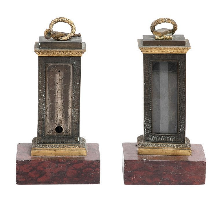 19th CENTURY CHARLES X PERIOD PAIR OF TABLE TERMOMETRES