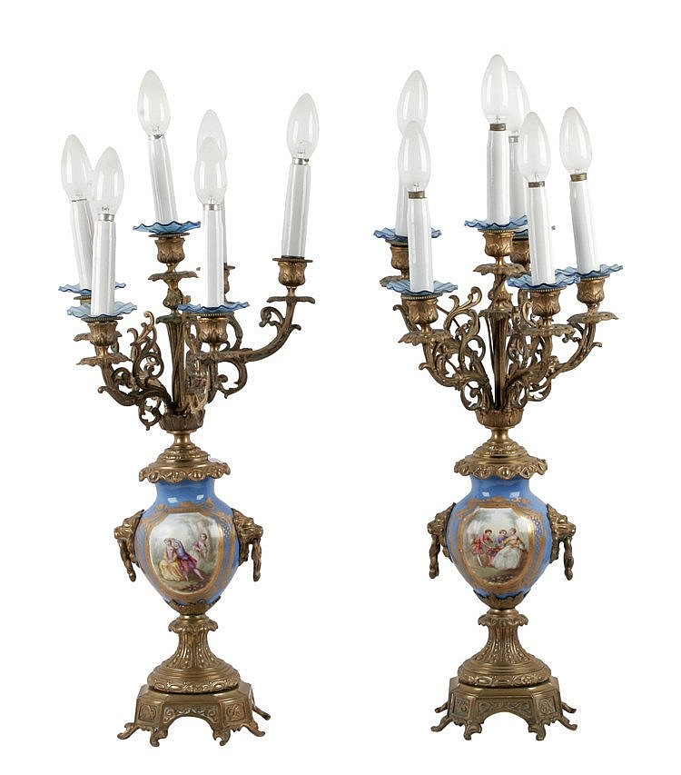 19th CENTURY PAIR OF SÉVRES PORCELAIN CANDELABRA