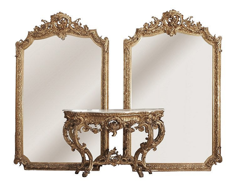 19th CENTURY SPANISH CONSOLE TABLE WITH A PAIR OF LOUIS XVI STYLE MIRRORS