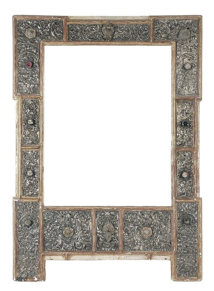 MEXICAN SILVER FRAME JEWELED WITH SEMI-PRECIOUS STONES CIRCA 1574