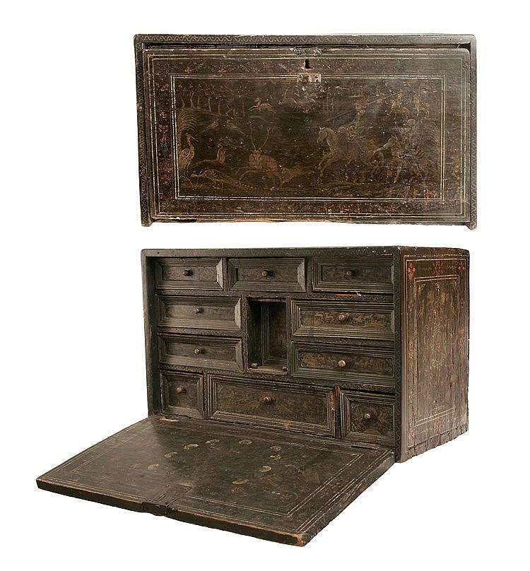 18th CENTURY COLONIAL WRITING DESK-PAPER CABINET
