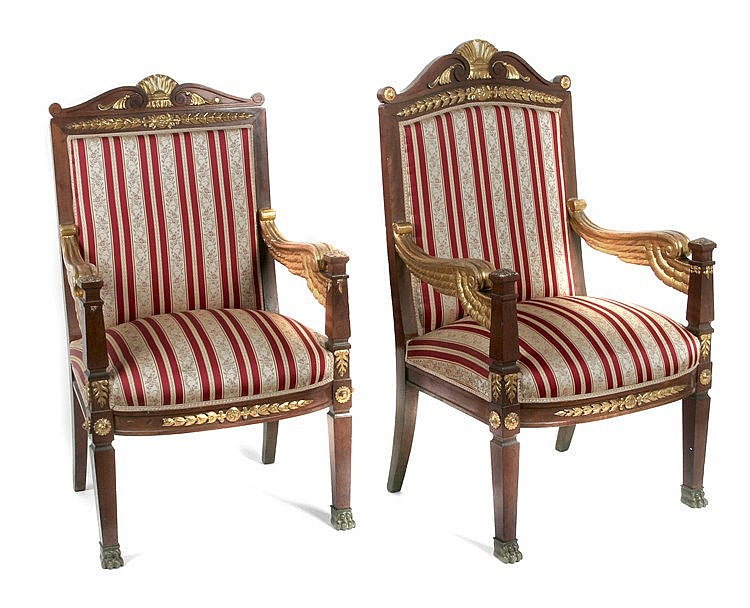 19th CENTURY FRENCH EMPIRE PERIOD PAIR OF ARMCHAIRS