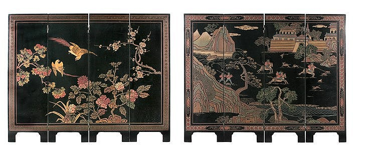 19th CENTURY JAPANESE FOUR-FOLD SCREEN