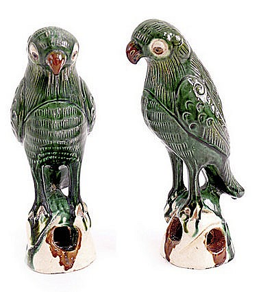 FIRST HALF OF 20th CENTURY PAIR OF CHINESE BIRDS FIGURINES