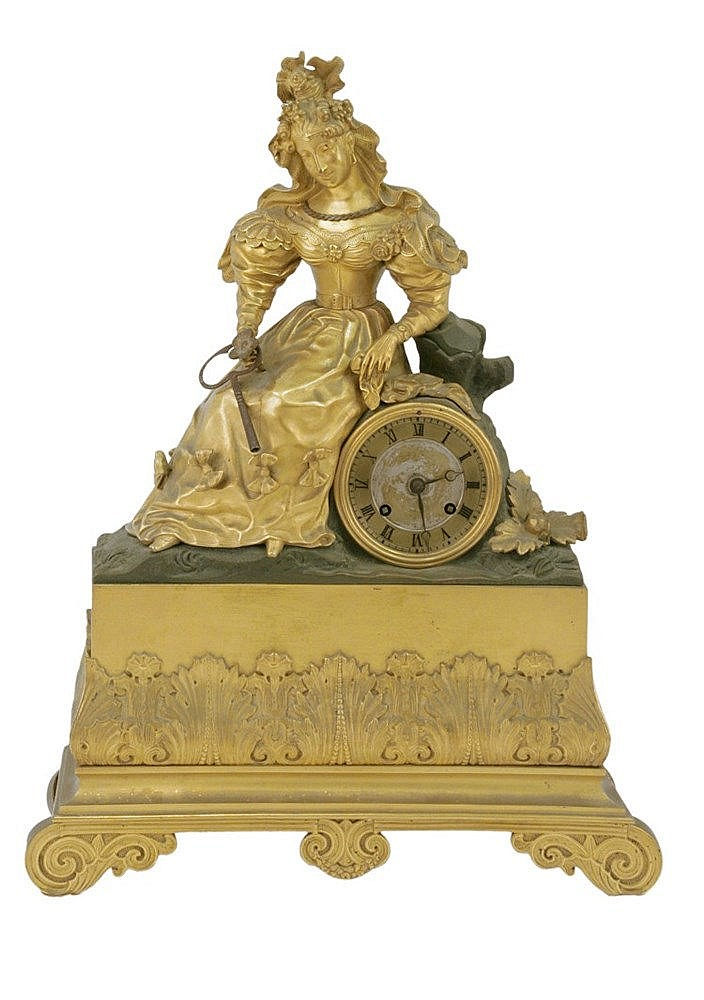 19th CENTURY FRENCH EMPIRE PERIOD TABLE CLOCK