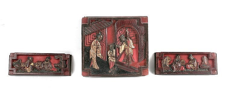 19th CENTURY THREE CHINESE CARVED PLAQUES
