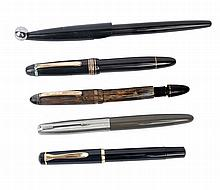 FIVE MONTBLANC, PARKER AND PELIKAN FOUNTAIN PENS