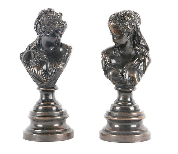 20th CENTURY PAIR OF BRONZE BUSTS