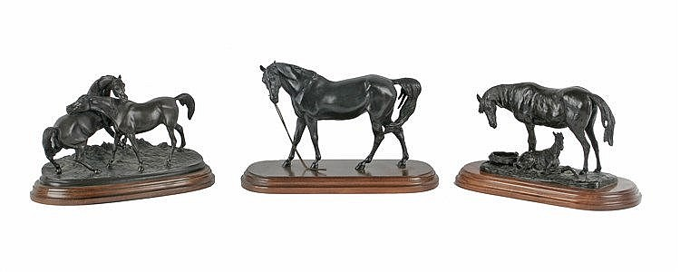 19th-20th CENTURY THRE SCULPTURES OF HORSES