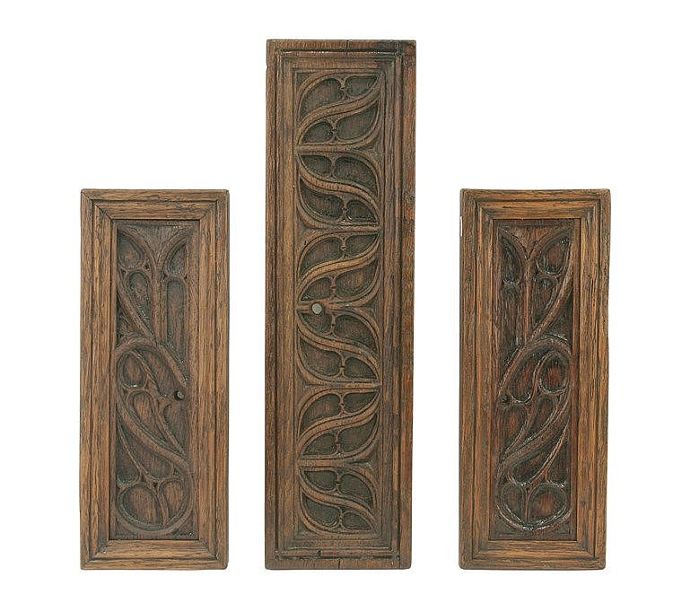16th CENTURY THREE GOTHIC TRACERY PANELS