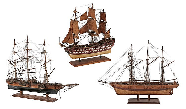 EARLY 20th CENTURY THREE SHIP MODELS