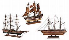 EARLY 20th CENTURY THREE SHIP MODELS