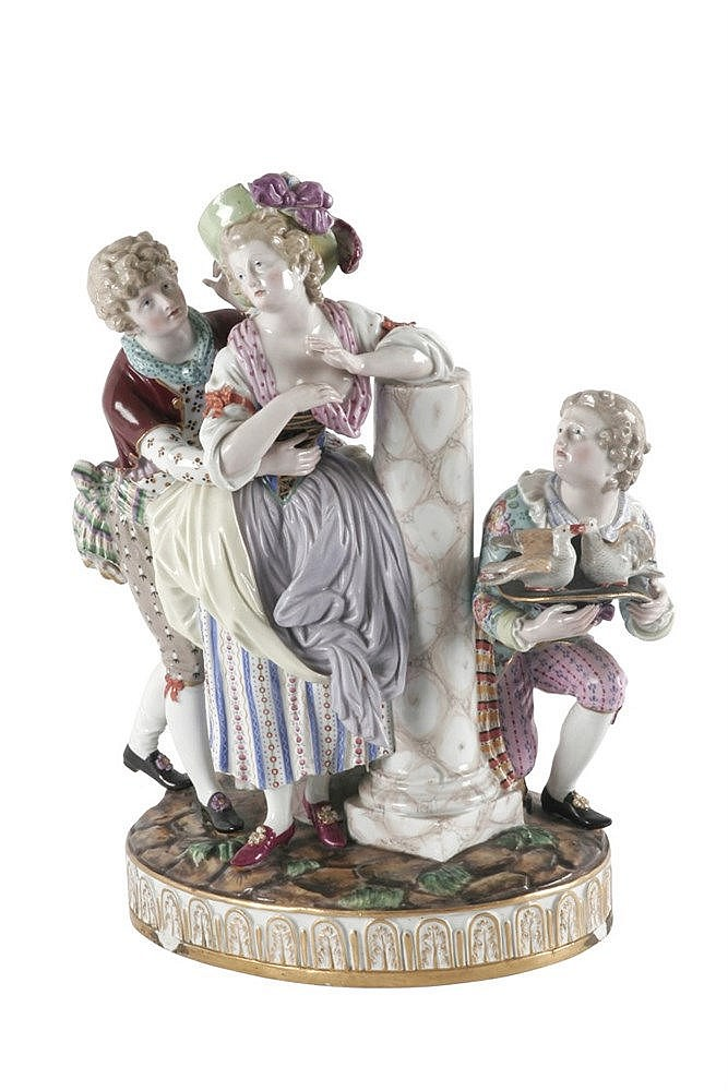 19th CENTURY PORCELAIN GROUP OF FIGURINES