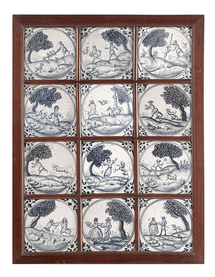 18th CENTURY WALL PLAQUE WITH TWELVE TILES IN TRIANA'S POTTERY
