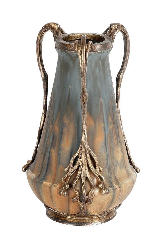 ZSOLNAY & ORIVIT, VASE WITH FLORAL MOUNTAIN, HUNGARY